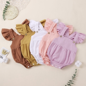 Baby Solid Strappy Flutter-sleeve Romper