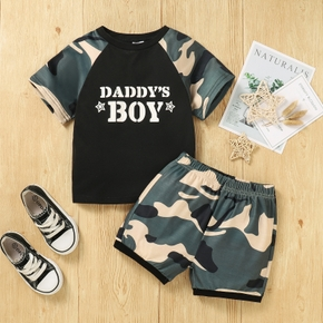 2-piece Baby / Toddler Boy Letter Print Camouflage Tee and Shorts Set