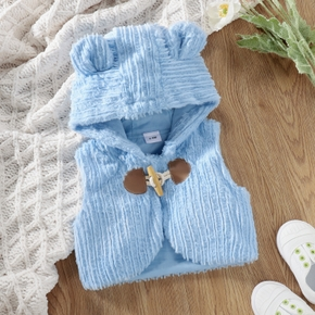Solid Blue Warm Hooded Baby Vest
