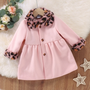 Baby Solid Pink Wool Blend Coat with Leopard Faux Fur Collar