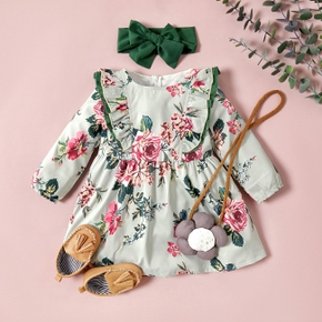 Baby / Toddler Girl Floral Print Long-sleeve Dress with Solid Headband