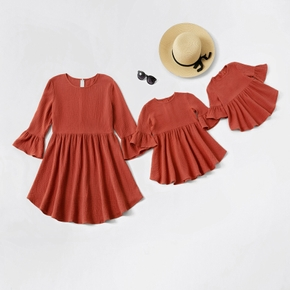 Solid Color Bell Sleeve Matching Mini Dresses