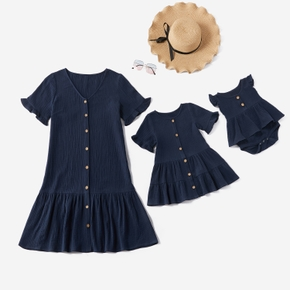 Mosaic 100% Cotton Ruffle Hem Matching Navy Mini Dresses