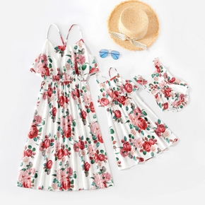 Floral Print Ruffle Off Shoulder Matching White Sling Midi Dresses
