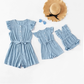 100% Cotton Solid Color Flutter-sleeve Matching Blue Shorts Rompers