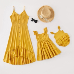 Solid Color Ruffle Hem Matching Yellow Sling Midi Dresses