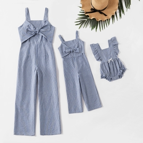 Mommy and Me 100% Cotton Striped Bow Tank Jumpsuits
