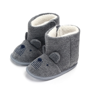 Baby / Toddler Mouse Embroidered Knitted Prewalker Shoes