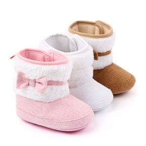 Baby / Toddler Girl Bowknot Fluff Casual Cotton Prewalker Shoes