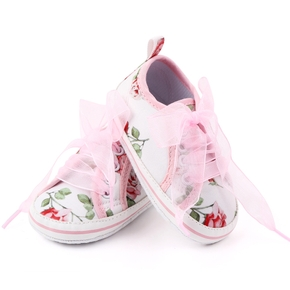 Baby / Toddler Floral Tulle Lace-up Canvas Prewalker Shoes