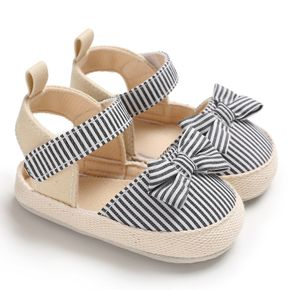 Baby / Toddler Girl Bowknot Decor Striped Velcro Sandals