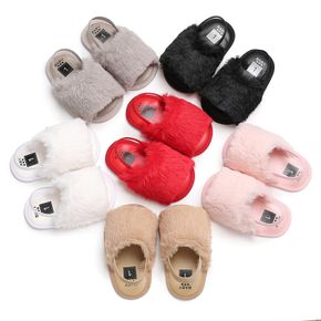 Baby / Toddler Girl Solid Fleece Slippers