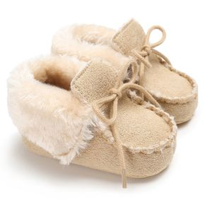 Baby / Toddler Fluffy Solid Lace- up Prewalker Shoes