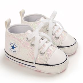 Baby / Toddler Solid Glittery Lace-up Canvas Prewalker Shoes