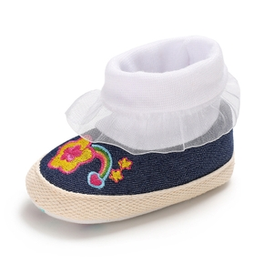 Baby / Toddler Girl Floral Embroidered Lace Ruffled Casual Canvas Prewalker Shoes