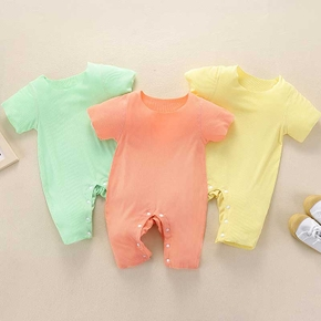 Baby Short-sleeve Solid Casual Jumpsuit