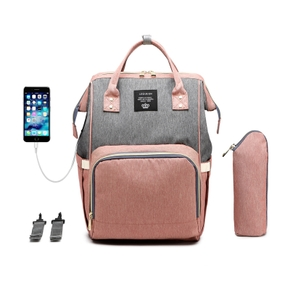 Color Block USB Heating Large Capacity Diaper Bag Backpack