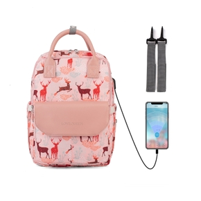 Multifunctional Baby Diaper Mummy Backpack Large Capacity Nappy Bag USB Charging Port with Changing Mat Stroller Straps