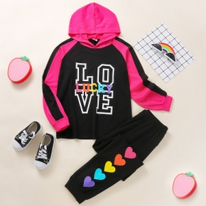 2-piece Kid Girl Letter Print Hoodie and Heart Print Pants Casual Set