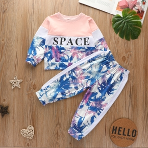 2-piece Baby / Toddler Girl Sporty Print Letter Long-sleeve Top and Pants Set