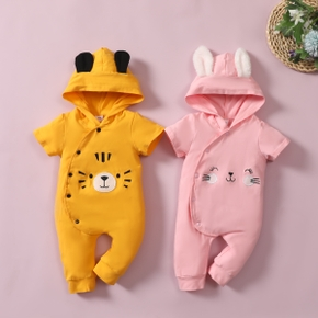 Baby Hooded Animal Embroidery Short-sleeve Jumpsuit