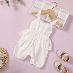Shirred Solid Lace Decor Sleeveless Baby Jumpsuit