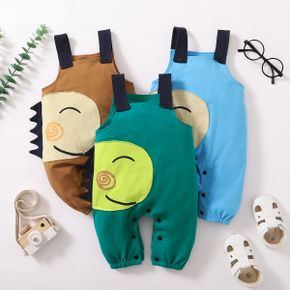 Solid Color Dino Face Patch Baby Overalls Jumpsuit