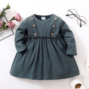 Ribbed Solid Long-sleeve Baby Dress