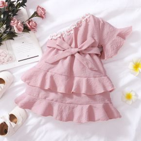 Solid Lace and Flounce Decor One Shoulder Pink Baby Dress