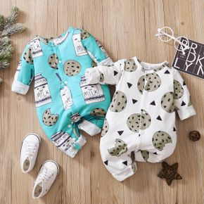 Cookie and Milk Print Long-sleeve Baby Jumpsuit