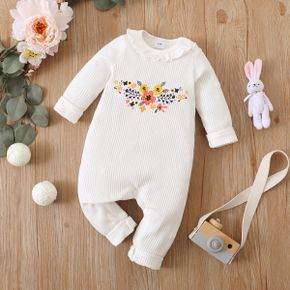 Ribbed Floral Print Ruffle Decor Long-sleeve White Baby Jumpsuit