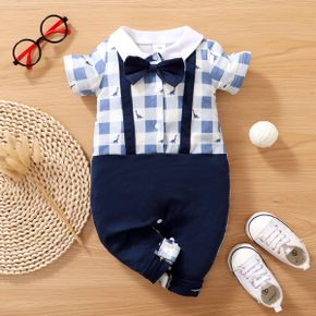 Plaid and Dino Print Splice Faux-two Design Bow Tie Decor Short-sleeve Baby Jumpsuit