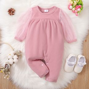 Solid Splicing Mesh Long-sleeve Baby Jumpsuit