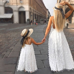 Solid Color Backless Matching Tassel Sling Maxi Dresses