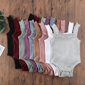 Ribbed Solid Sleeveless Baby Romper
