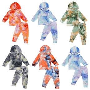 2-piece Baby / Toddler Tie-dye Hooded Long-sleeve Pullover and Pants Set