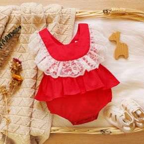 100% Cotton Red Square Neck Lace Splicing Ruffle Baby Party Romper
