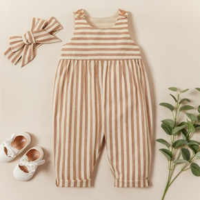 2-piece Baby / Toddler Striped Sleeveless Jumpsuit with Headband Set