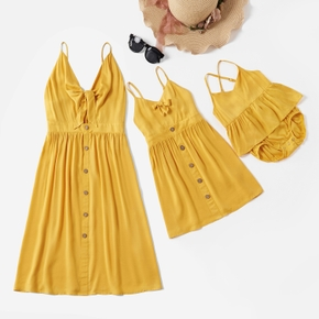 Mosaic Solid Color Matching Yellow Sling Midi Dresses
