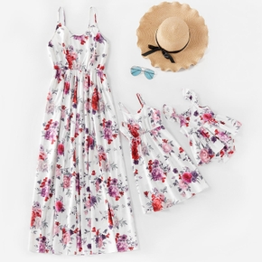 Floral Print Matching White Sling Maxi Dresses
