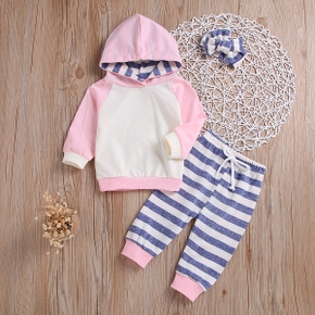 Baby Girl 3-piece Hoodie and Striped Pants Set