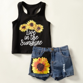 2-piece Baby / Toddler Girl Sunflower Print Top and Jeans Set