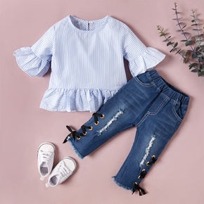 2-piece Baby / Toddler Girl Solid Striped Top and Jeans Set