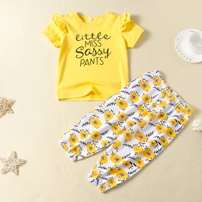 2-piece Baby / Toddler Girl Letter Flounced Short-sleeve Top and Floral Print Pants Set