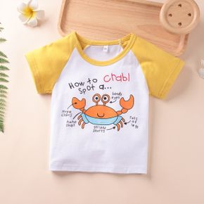 1pc Summer Cotton Short-sleeve Baby Unisex casual Letter & crab Tee