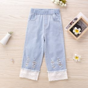 Baby / Toddler Girl Solid Lace Ripped Jeans