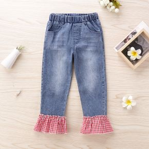 Baby / Toddler Girl Plaid Colorblock Flare Jeans