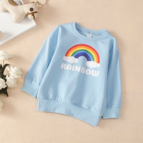 Baby / Toddler Girl Rainbow Letter Print Pullover