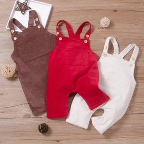 Baby Solid Retro Strappy Jumpsuit