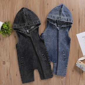 Baby Denim Hooded Sleeveless Jumpsuit